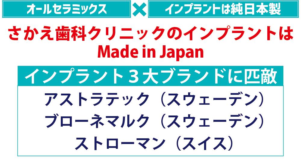 さかえ歯科クリニックのインプラントはMade in Japan